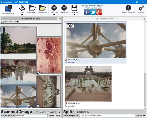 Bulk scan photos with AutoSplitter